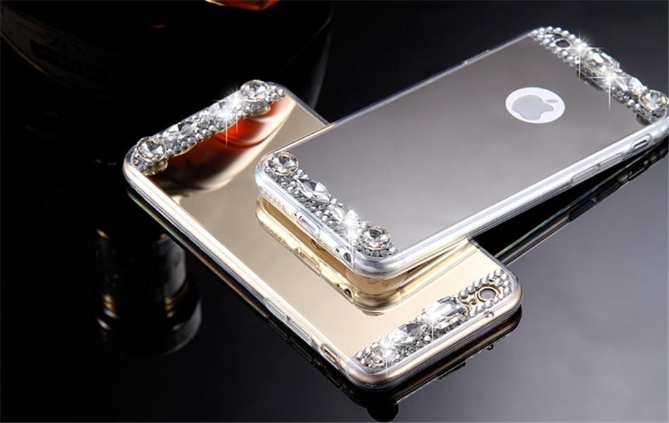 Dámský elegantní zrcadlový kryt s kamínky na iPhone 5 5s 127a9e68fe6